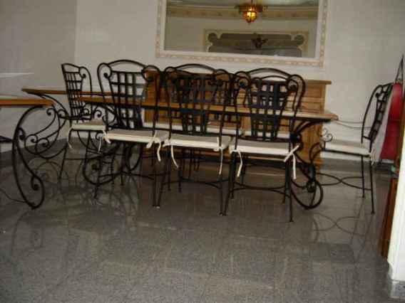 Salle manger fer forg bois verre compl te - Table salle a manger bois et fer ...