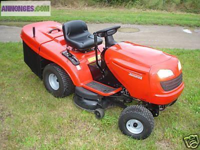 Tracteur tondeuse avec lame neige chaines masses - Tracteur tondeuse coupe frontale d occasion ...