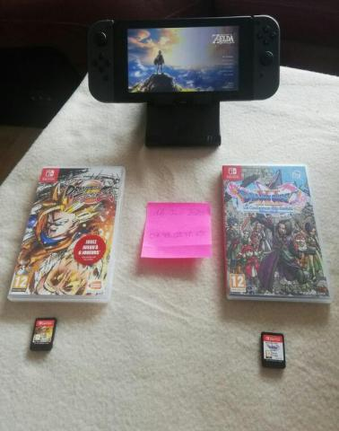 Nintendo SWITCH + ZELDA Breath of the Wild (+2 DLC) + Dragon Ball Fighter Z + Dragon Quest XI S