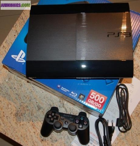 console ps3 ultra slim 500 go sony 2 manettes jeux. Black Bedroom Furniture Sets. Home Design Ideas